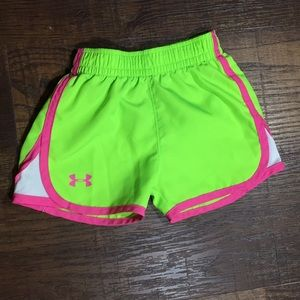 Girl's 3T Under Armour Neon Green & Pink Shorts